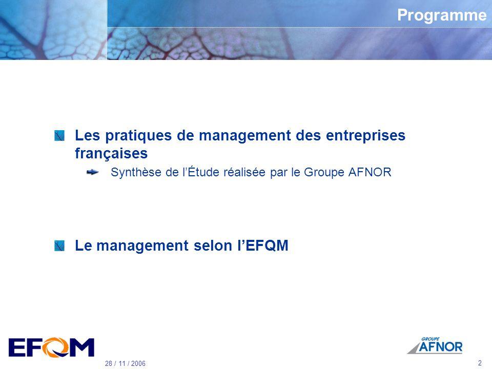Référence Colloque 8° JIQH le 27 Novembre 2006 Les pratiques de management des entreprises françaises et lapproche EFQM