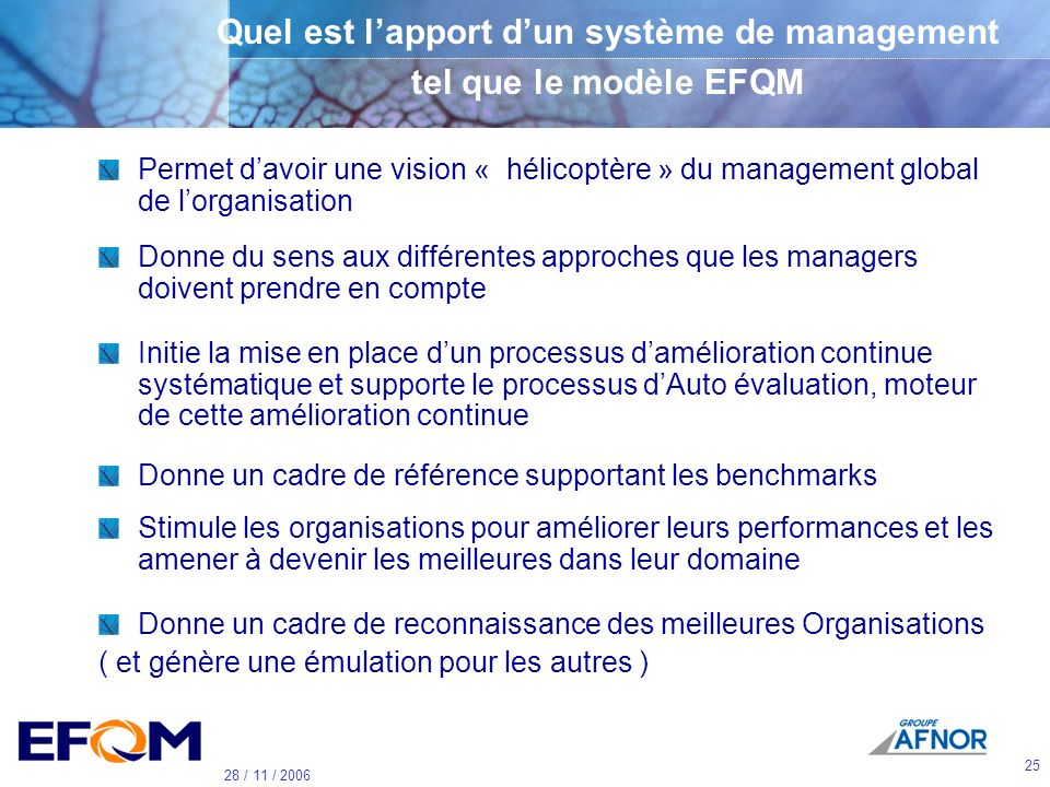 24 28 / 11 / 2006 Leadership Personnel Partenariats & ressources Politique & stratégie Résultats Personnel Résultats Société Résultats Clients Résulta