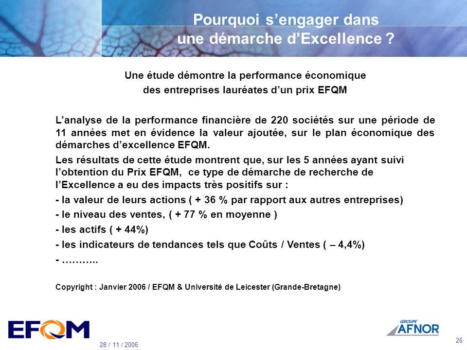 25 28 / 11 / 2006 Quel est lapport dun système de management tel que le modèle EFQM Stimule les organisations pour améliorer leurs performances et les