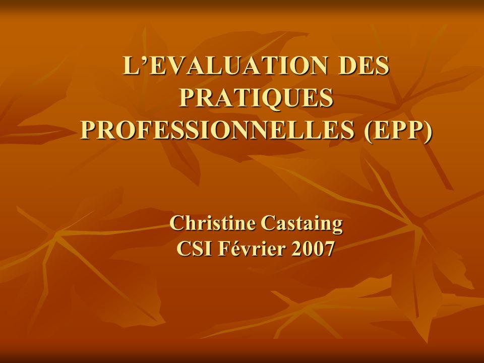 LEVALUATION DES PRATIQUES PROFESSIONNELLES (EPP) Christine Castaing CSI Février 2007