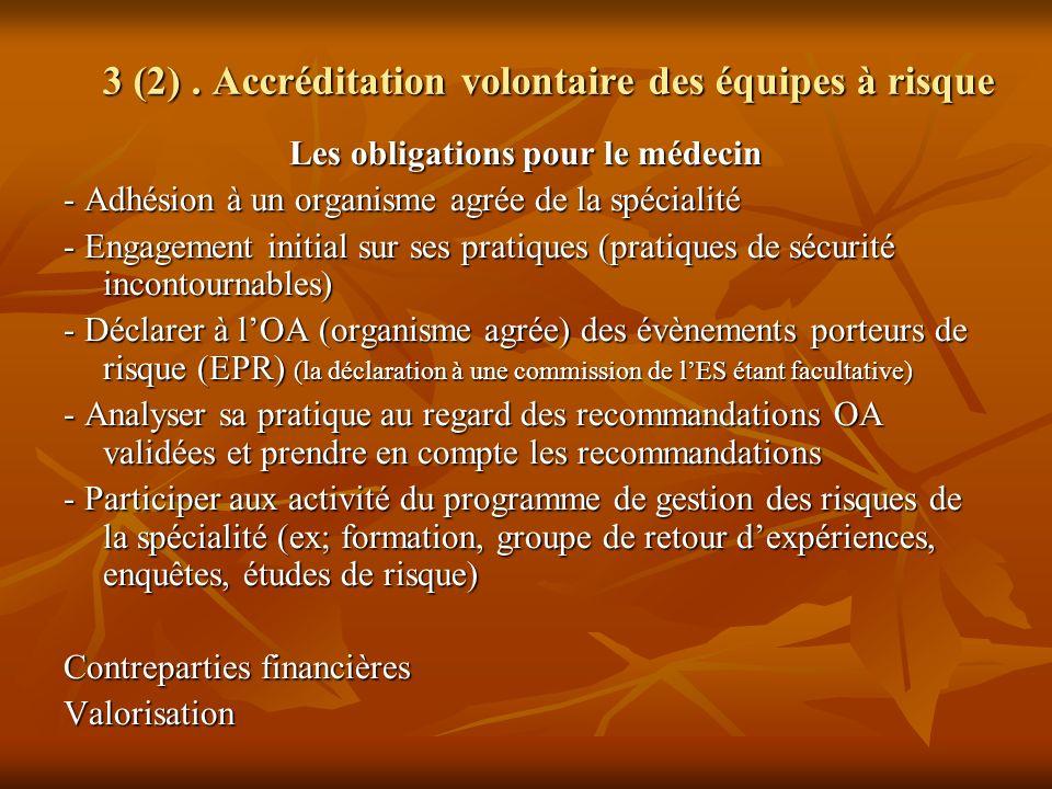 Les obligations pour le médecin - Adhésion à un organisme agrée de la spécialité - Engagement initial sur ses pratiques (pratiques de sécurité inconto