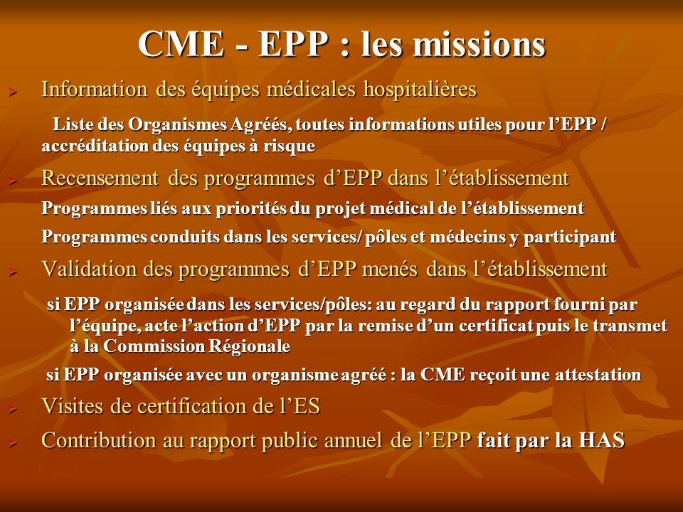 CME - EPP : les missions Information des équipes médicales hospitalières Information des équipes médicales hospitalières Liste des Organismes Agréés,