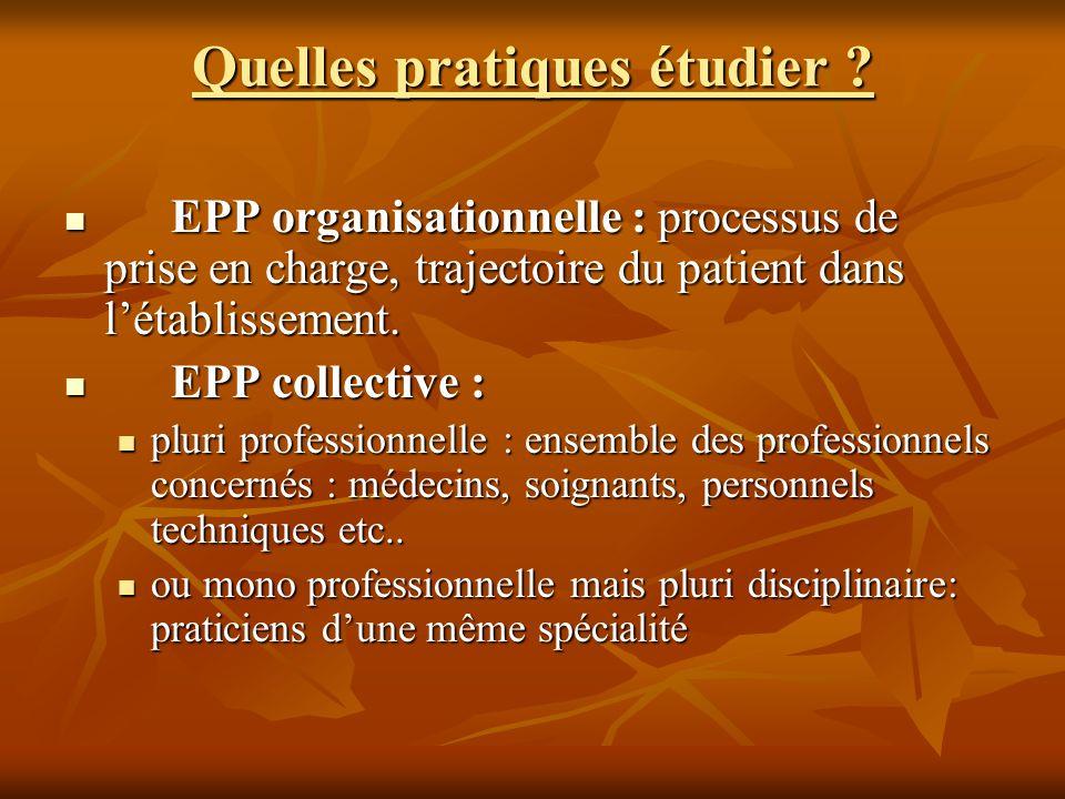 Quelles pratiques étudier ? EPP organisationnelle : processus de prise en charge, trajectoire du patient dans létablissement. EPP organisationnelle :