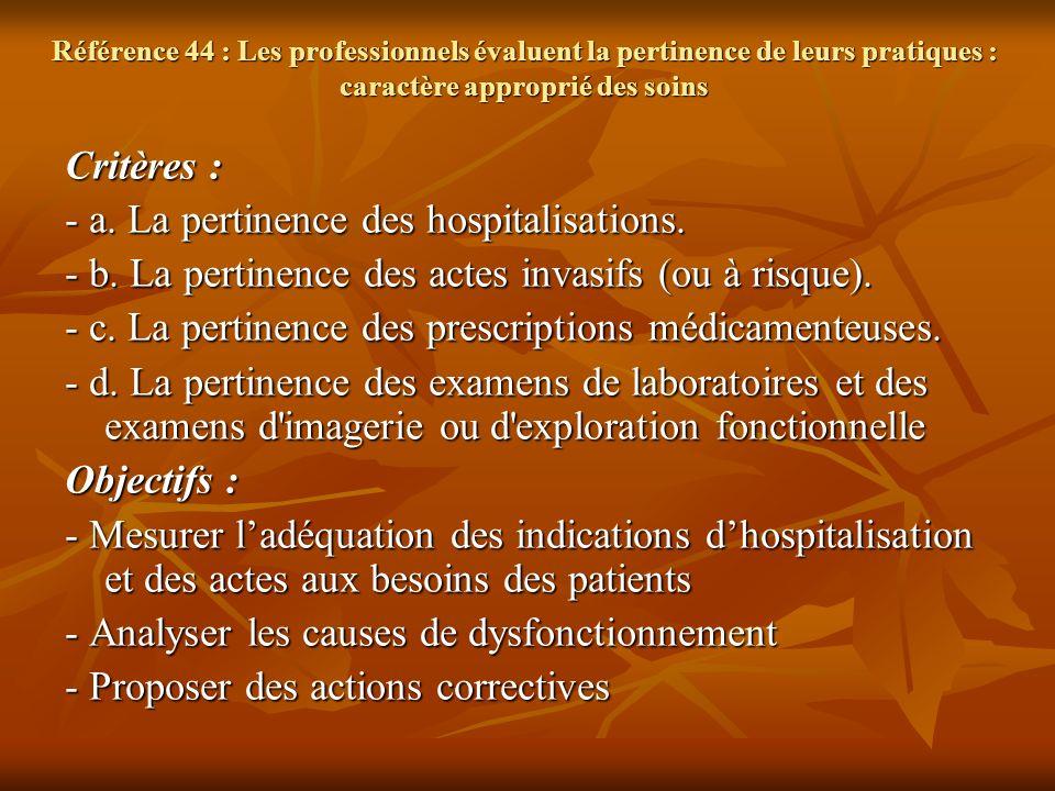 Référence 44 : Les professionnels évaluent la pertinence de leurs pratiques : caractère approprié des soins Critères : - a. La pertinence des hospital