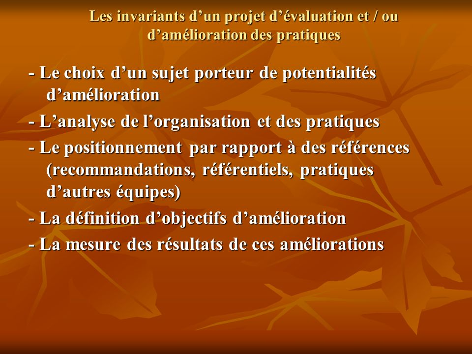 Les invariants dun projet dévaluation et / ou damélioration des pratiques - Le choix dun sujet porteur de potentialités damélioration - Lanalyse de lo