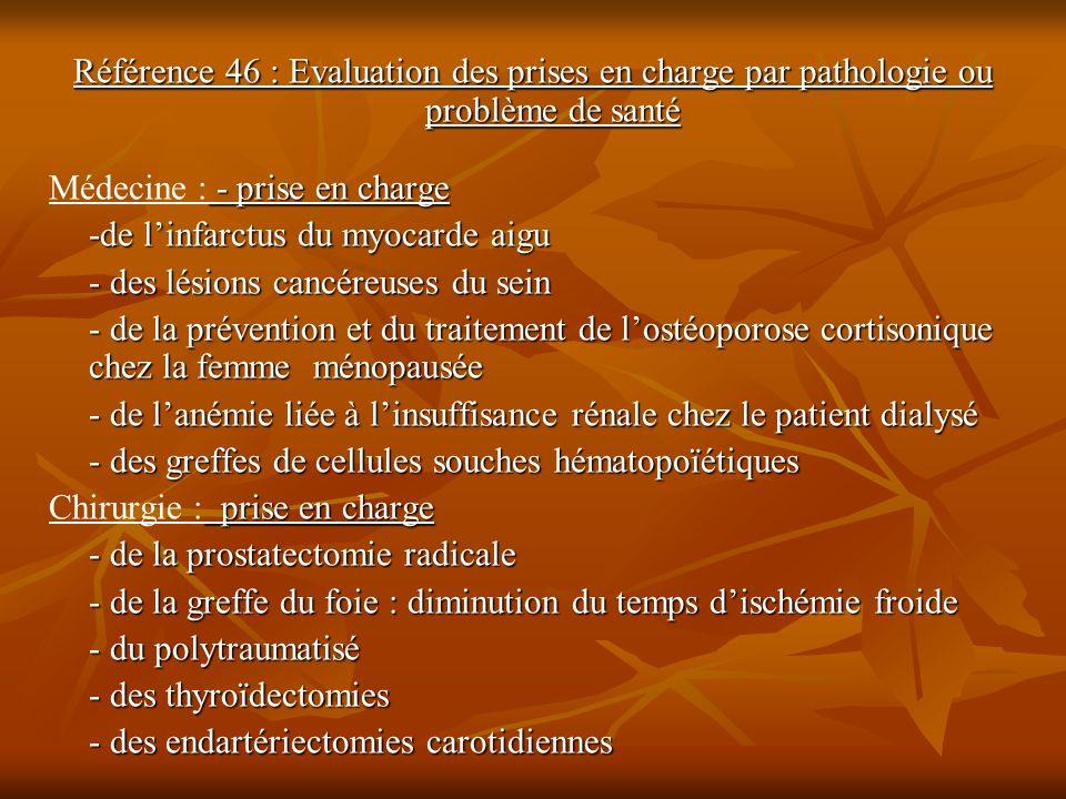 Référence 46 : Evaluation des prises en charge par pathologie ou problème de santé - prise en charge Médecine : - prise en charge -de linfarctus du my
