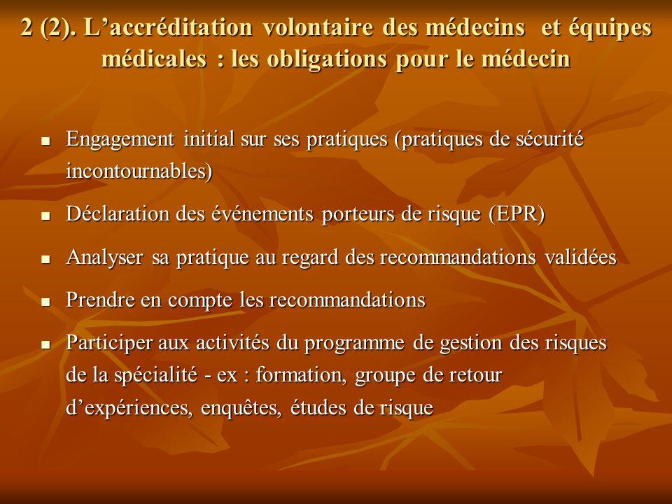 2 (2). Laccréditation volontaire des médecins et équipes médicales : les obligations pour le médecin Engagement initial sur ses pratiques (pratiques d