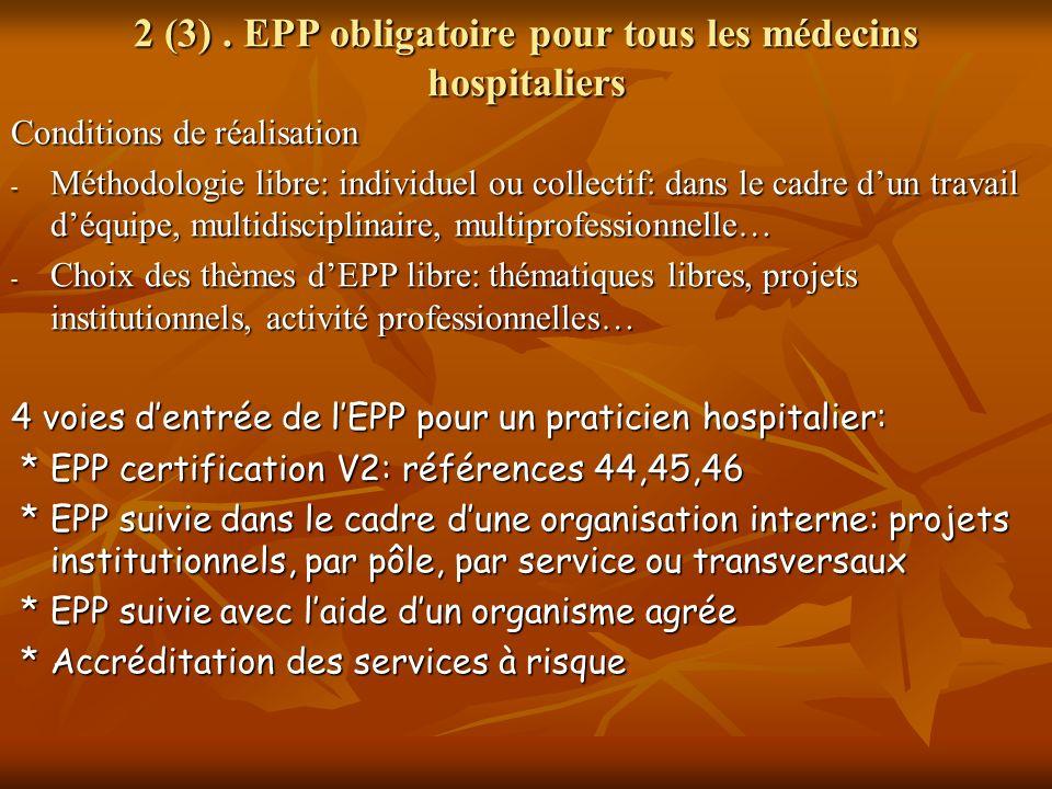 2 (3). EPP obligatoire pour tous les médecins hospitaliers Conditions de réalisation - Méthodologie libre: individuel ou collectif: dans le cadre dun