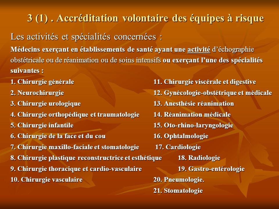 3 (1). Accréditation volontaire des équipes à risque Les activités et spécialités concernées : Médecins exerçant en établissements de santé ayant une