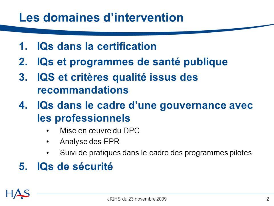 JIQHS du 23 novembre 20092 Les domaines dintervention 1.IQs dans la certification 2.IQs et programmes de santé publique 3.IQS et critères qualité issu