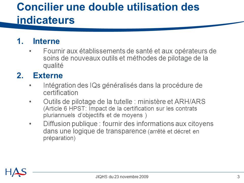 JIQHS du 23 novembre 20093 Concilier une double utilisation des indicateurs 1.Interne Fournir aux établissements de santé et aux opérateurs de soins d