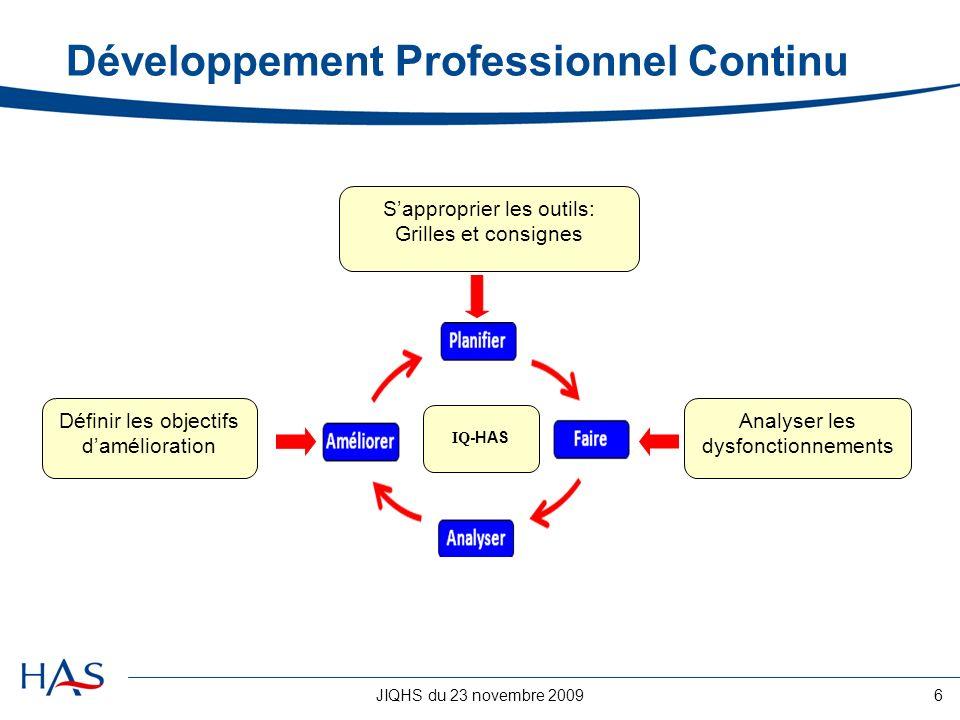 JIQHS du 23 novembre 20096 Développement Professionnel Continu Sapproprier les outils: Grilles et consignes IQ -HAS Analyser les dysfonctionnements Dé