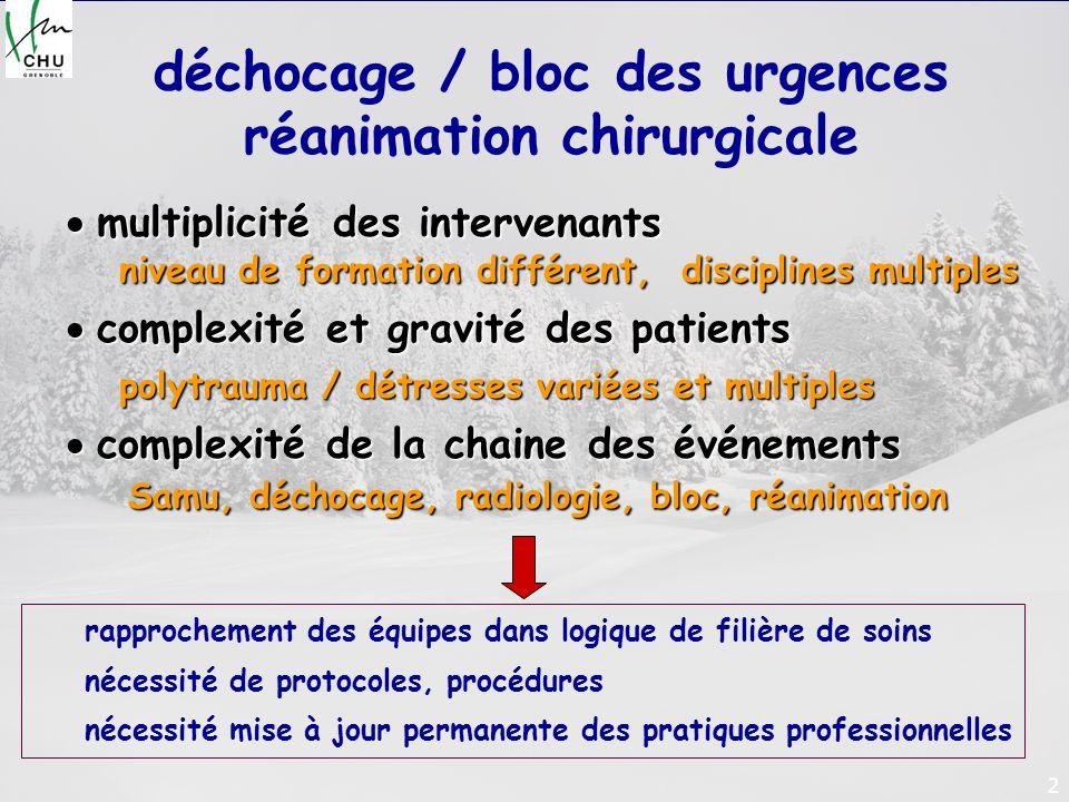 2 déchocage / bloc des urgences réanimation chirurgicale multiplicité des intervenants multiplicité des intervenants niveau de formation différent, di