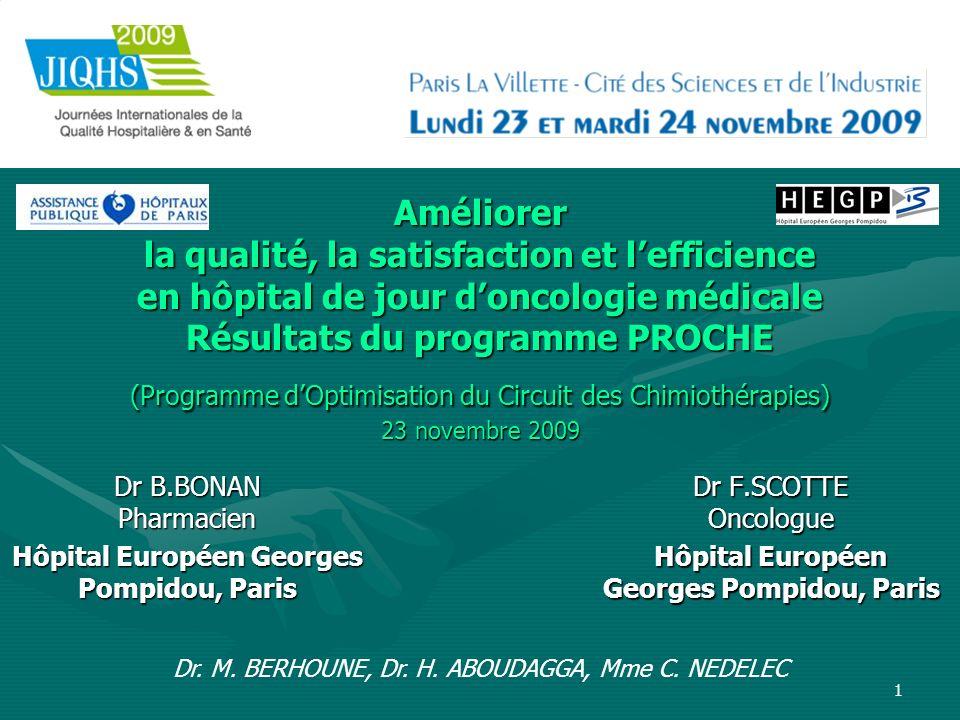 1 Améliorer la qualité, la satisfaction et lefficience en hôpital de jour doncologie médicale Résultats du programme PROCHE (Programme dOptimisation d