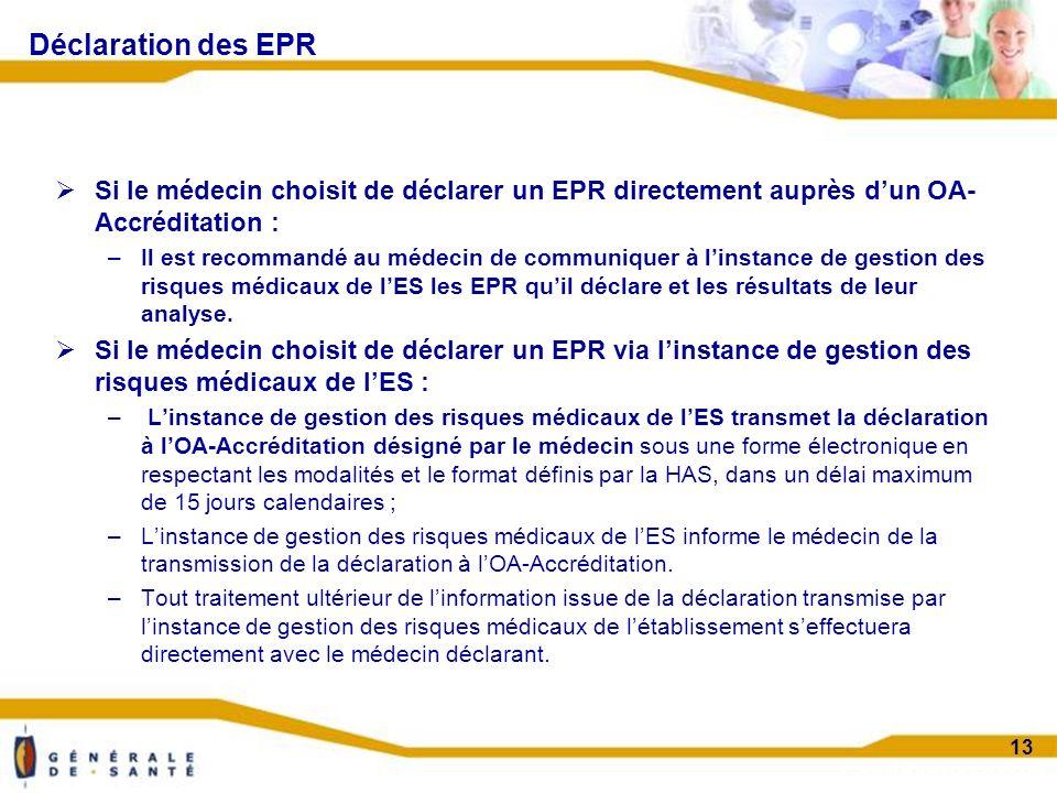 Confidentiel projet 13 Déclaration des EPR Si le médecin choisit de déclarer un EPR directement auprès dun OA- Accréditation : –Il est recommandé au médecin de communiquer à linstance de gestion des risques médicaux de lES les EPR quil déclare et les résultats de leur analyse.