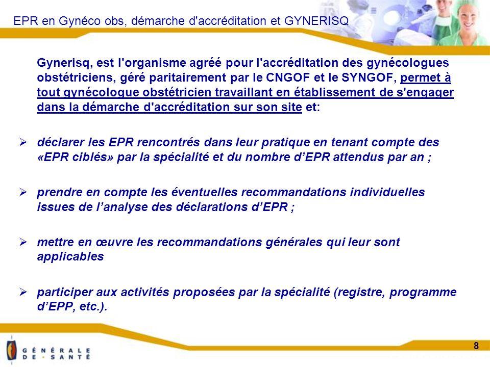 Confidentiel projet 8 EPR en Gynéco obs, démarche d accréditation et GYNERISQ Gynerisq, est l organisme agréé pour l accréditation des gynécologues obstétriciens, géré paritairement par le CNGOF et le SYNGOF, permet à tout gynécologue obstétricien travaillant en établissement de s engager dans la démarche d accréditation sur son site et: déclarer les EPR rencontrés dans leur pratique en tenant compte des «EPR ciblés» par la spécialité et du nombre dEPR attendus par an ; prendre en compte les éventuelles recommandations individuelles issues de lanalyse des déclarations dEPR ; mettre en œuvre les recommandations générales qui leur sont applicables participer aux activités proposées par la spécialité (registre, programme dEPP, etc.).