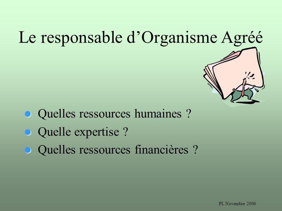PL Novembre 2006 Le responsable dOrganisme Agréé Quelles ressources humaines .