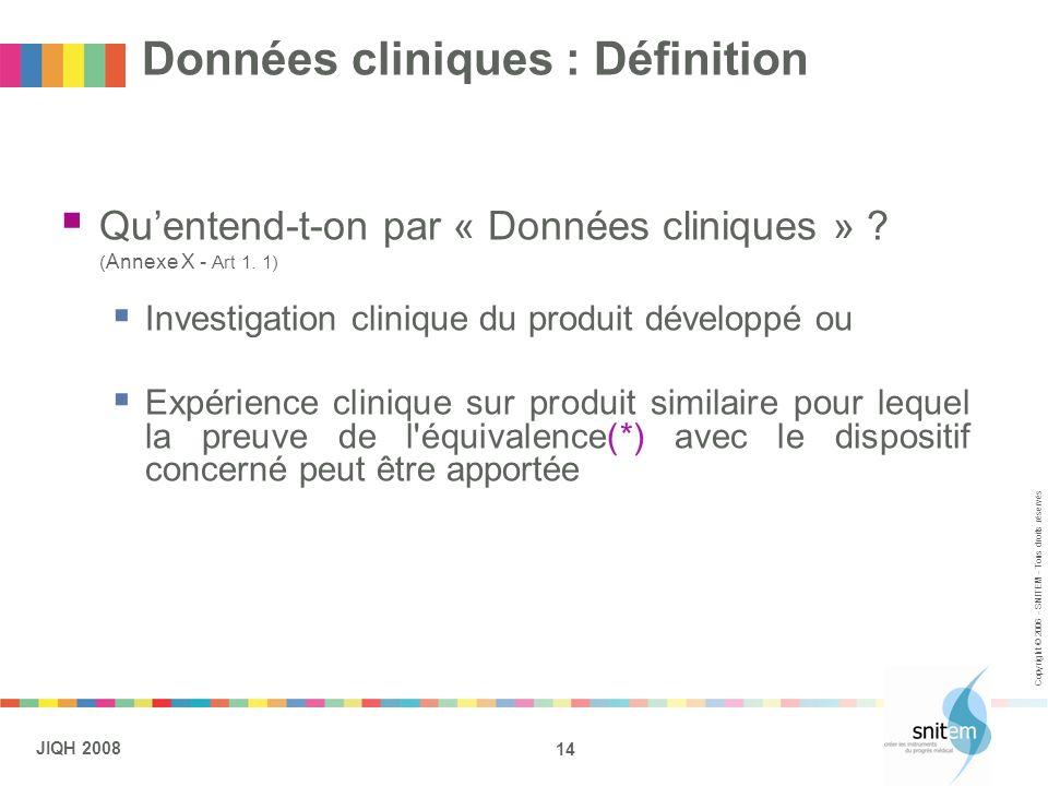 14 JIQH 2008 Copyright © 2006 - SNITEM - Tous droits réservés Données cliniques : Définition Quentend-t-on par « Données cliniques » ? ( Annexe X - Ar