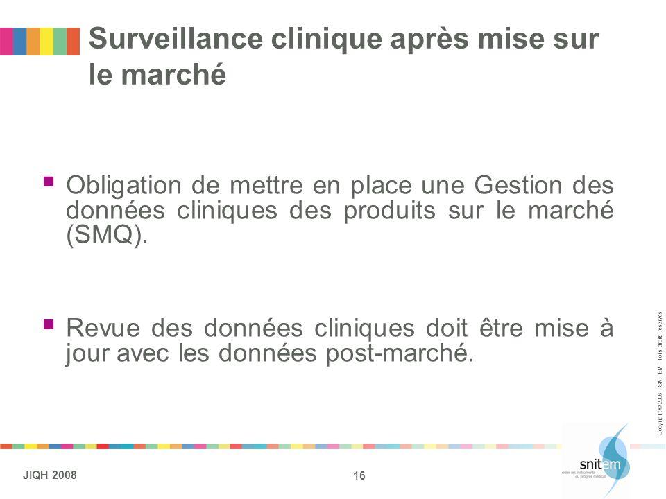 16 JIQH 2008 Copyright © 2006 - SNITEM - Tous droits réservés Surveillance clinique après mise sur le marché Obligation de mettre en place une Gestion