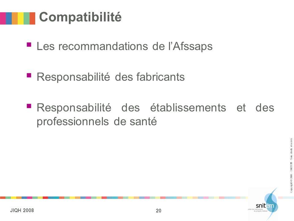20 JIQH 2008 Copyright © 2006 - SNITEM - Tous droits réservés Compatibilité Les recommandations de lAfssaps Responsabilité des fabricants Responsabili