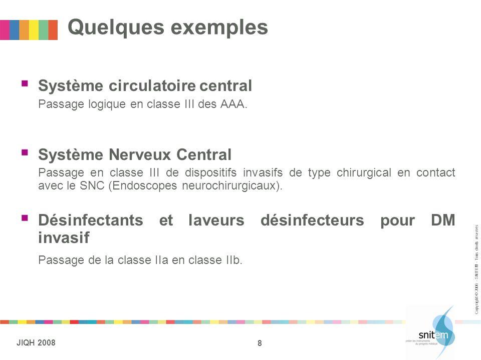 8 JIQH 2008 Copyright © 2006 - SNITEM - Tous droits réservés Quelques exemples Système circulatoire central Passage logique en classe III des AAA. Sys