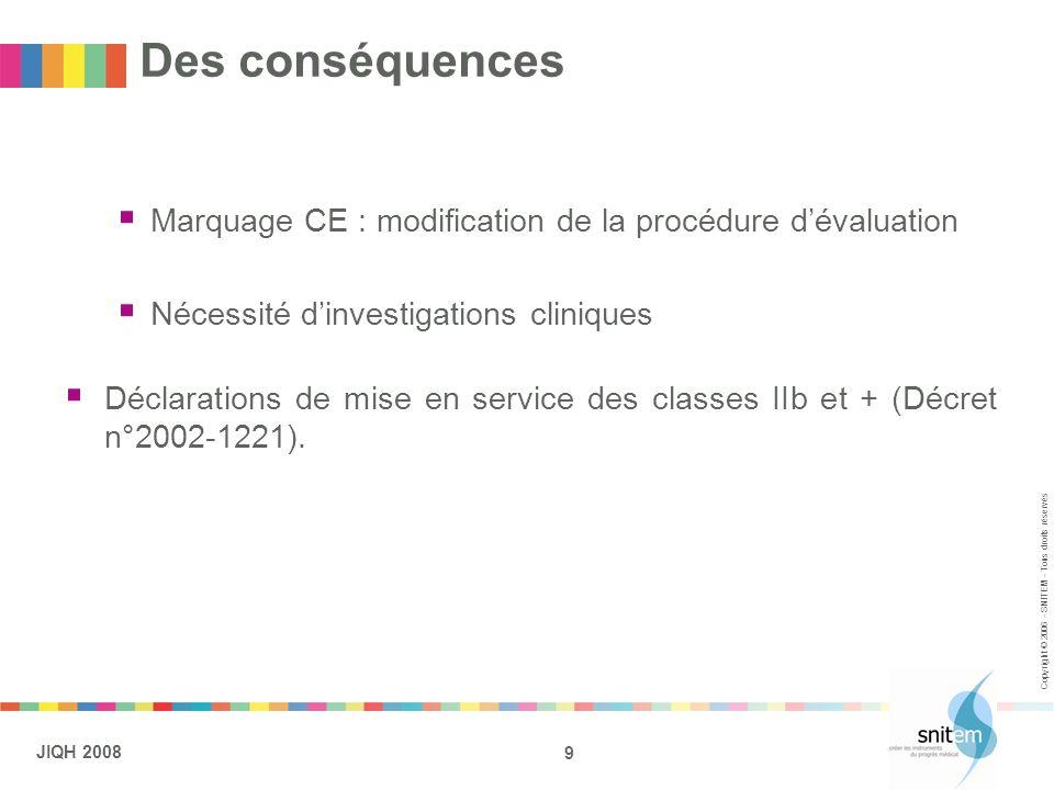 9 JIQH 2008 Copyright © 2006 - SNITEM - Tous droits réservés Des conséquences Marquage CE : modification de la procédure dévaluation Nécessité dinvest