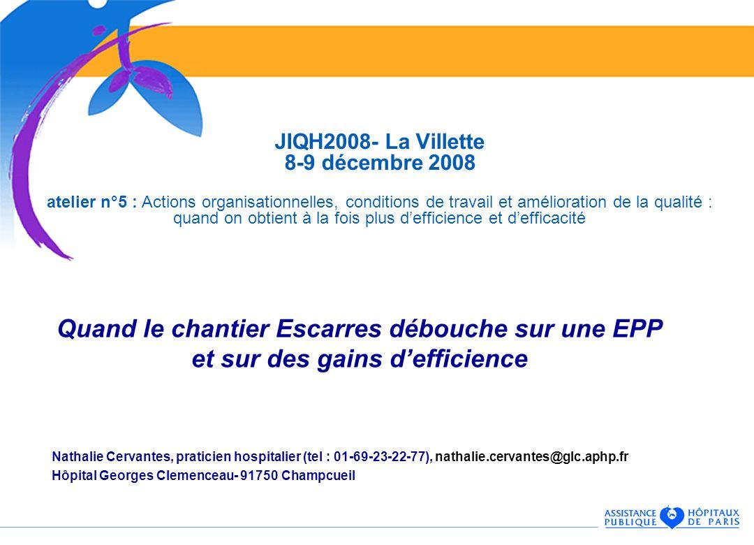 Quand le chantier Escarres débouche sur une EPP et sur des gains defficience Nathalie Cervantes, praticien hospitalier (tel : 01-69-23-22-77), nathali