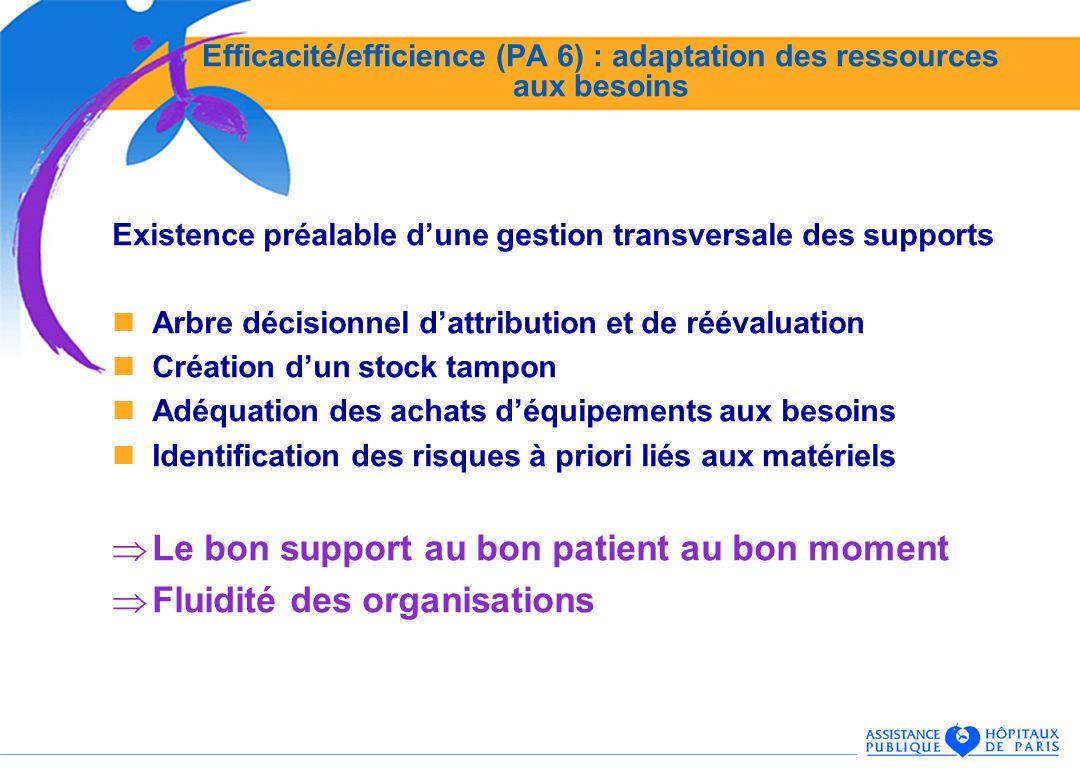 Efficacité/efficience (PA 6) : adaptation des ressources aux besoins Existence préalable dune gestion transversale des supports Arbre décisionnel datt