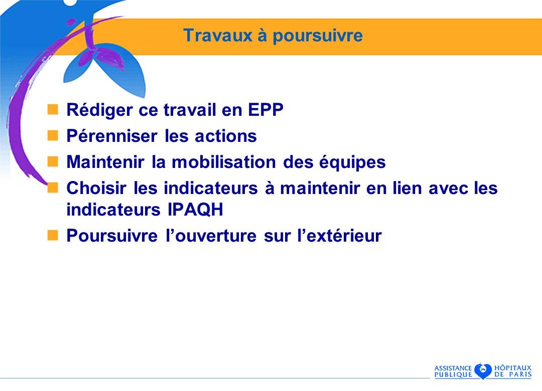 Travaux à poursuivre Rédiger ce travail en EPP Pérenniser les actions Maintenir la mobilisation des équipes Choisir les indicateurs à maintenir en lie