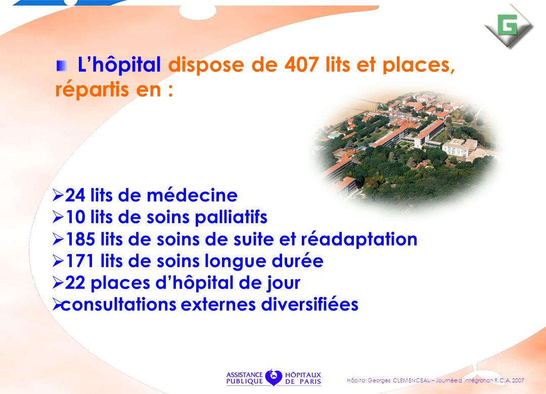 Lhôpital dispose de 407 lits et places, répartis en : 24 lits de médecine 10 lits de soins palliatifs 185 lits de soins de suite et réadaptation 171 l