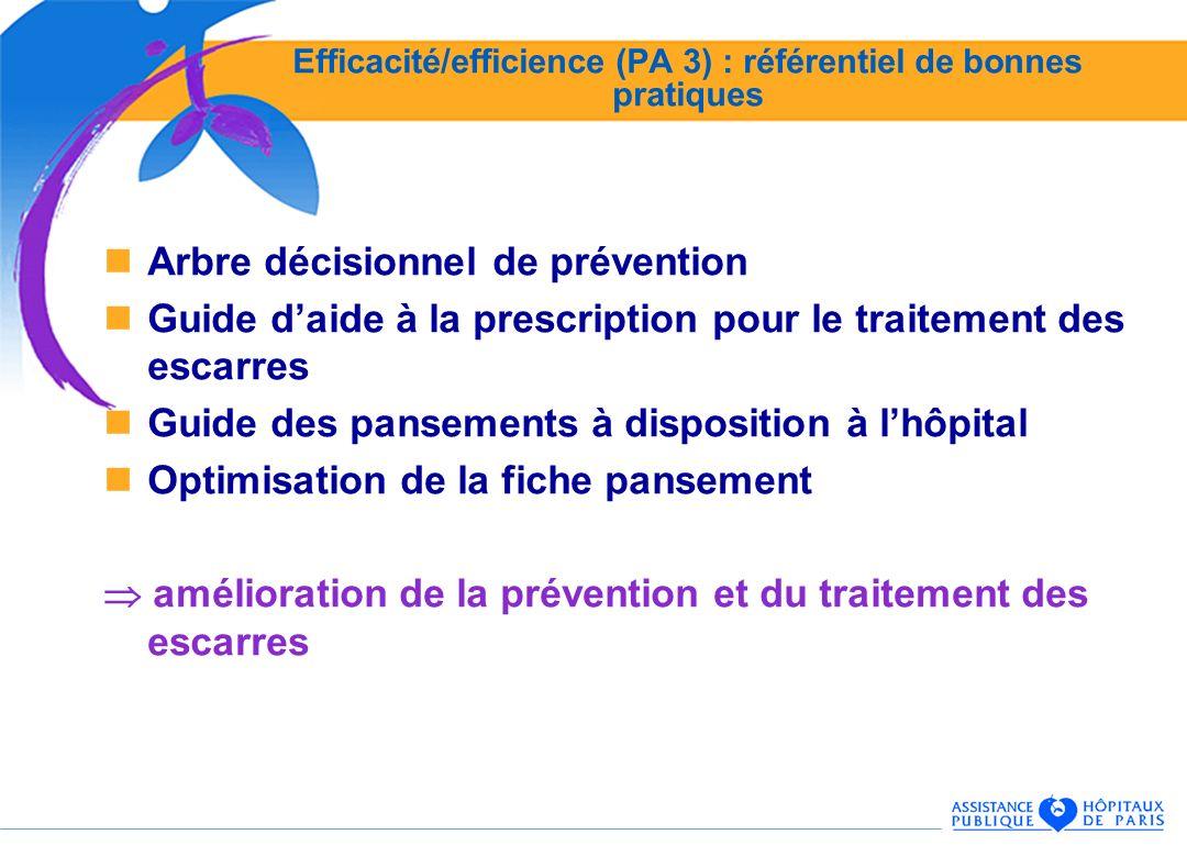 Efficacité/efficience (PA 3) : référentiel de bonnes pratiques Arbre décisionnel de prévention Guide daide à la prescription pour le traitement des escarres Guide des pansements à disposition à lhôpital Optimisation de la fiche pansement amélioration de la prévention et du traitement des escarres