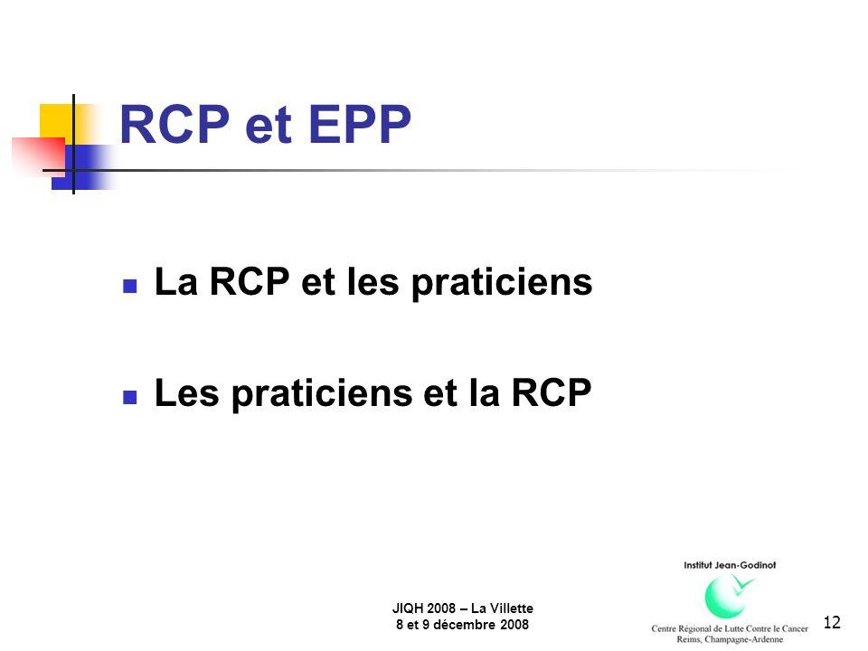 JIQH 2008 – La Villette 8 et 9 décembre 2008 12 RCP et EPP La RCP et les praticiens Les praticiens et la RCP