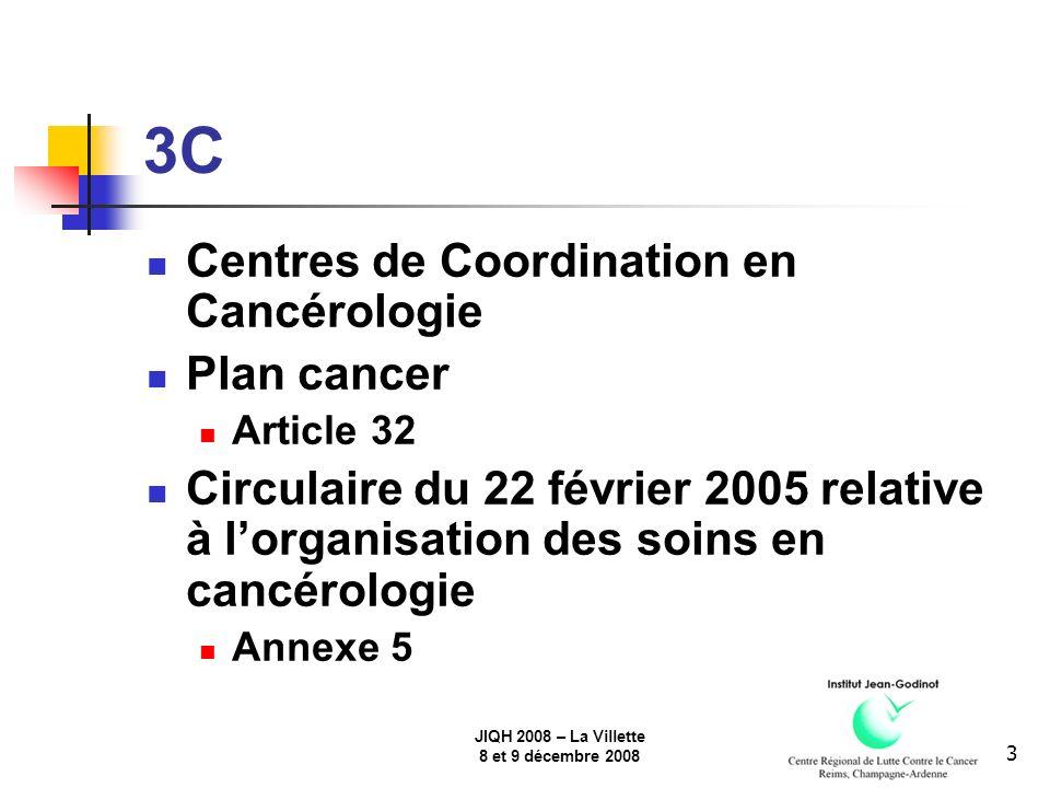 JIQH 2008 – La Villette 8 et 9 décembre 2008 3 3C Centres de Coordination en Cancérologie Plan cancer Article 32 Circulaire du 22 février 2005 relative à lorganisation des soins en cancérologie Annexe 5