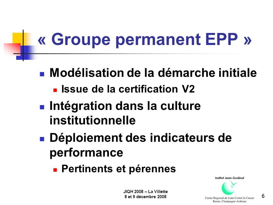 JIQH 2008 – La Villette 8 et 9 décembre 2008 6 « Groupe permanent EPP » Modélisation de la démarche initiale Issue de la certification V2 Intégration dans la culture institutionnelle Déploiement des indicateurs de performance Pertinents et pérennes