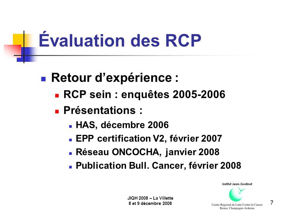 JIQH 2008 – La Villette 8 et 9 décembre 2008 7 Évaluation des RCP Retour dexpérience : RCP sein : enquêtes 2005-2006 Présentations : HAS, décembre 2006 EPP certification V2, février 2007 Réseau ONCOCHA, janvier 2008 Publication Bull.