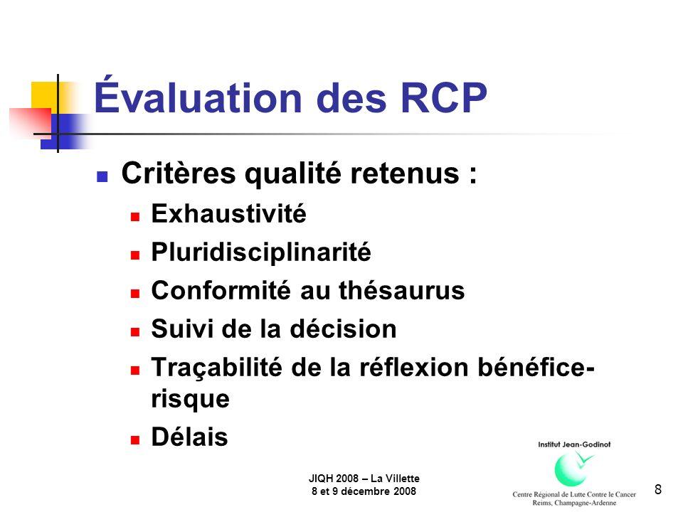 JIQH 2008 – La Villette 8 et 9 décembre 2008 9 Évaluation des RCP Déploiement : RCP thyroïde : février 2008 RCP gynécologie : 2009 RCP sein : 3ème vague : août 2008