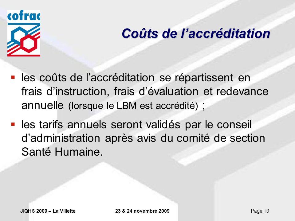 JIQHS 2009 – La Villette23 & 24 novembre 2009Page 10 Coûts de laccréditation les coûts de laccréditation se répartissent en frais dinstruction, frais