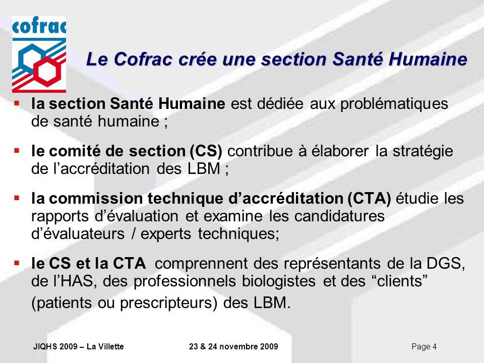 JIQHS 2009 – La Villette23 & 24 novembre 2009Page 4 la section Santé Humaine est dédiée aux problématiques de santé humaine ; le comité de section (CS