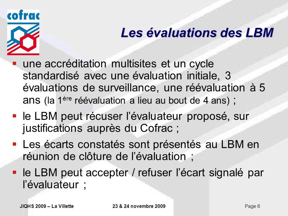 JIQHS 2009 – La Villette23 & 24 novembre 2009Page 7 Les évaluations des LBM les dossiers dévaluation sont examinés de façon collégiale par des commissions daccréditation ; la décision daccréditation est prise par le DG du Cofrac ; les décisions peuvent être contestées via une procédure dappel.