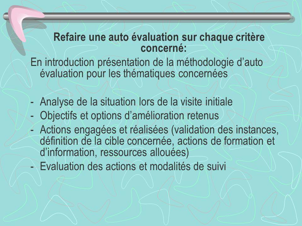 Refaire une auto évaluation sur chaque critère concerné: En introduction présentation de la méthodologie dauto évaluation pour les thématiques concern
