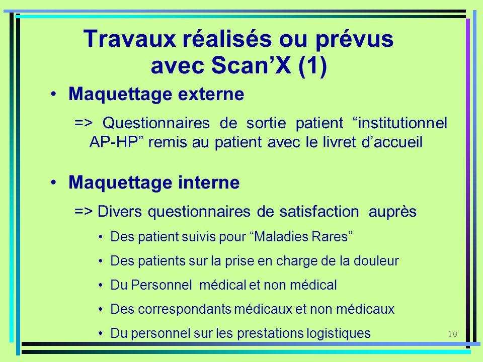 10 Travaux réalisés ou prévus avec ScanX (1) Maquettage externe => Questionnaires de sortie patient institutionnel AP-HP remis au patient avec le livr