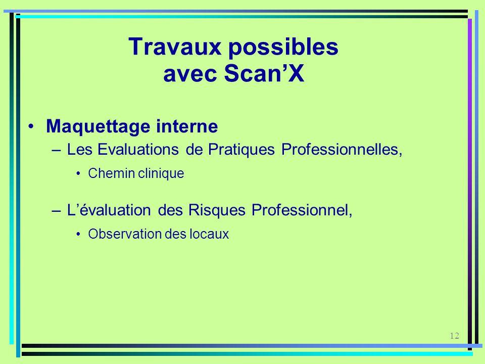 12 Travaux possibles avec ScanX Maquettage interne –Les Evaluations de Pratiques Professionnelles, Chemin clinique –Lévaluation des Risques Profession