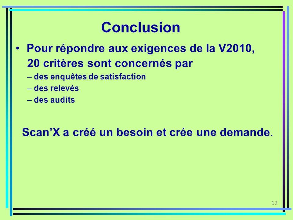 13 Conclusion Pour répondre aux exigences de la V2010, 20 critères sont concernés par – des enquêtes de satisfaction – des relevés – des audits ScanX
