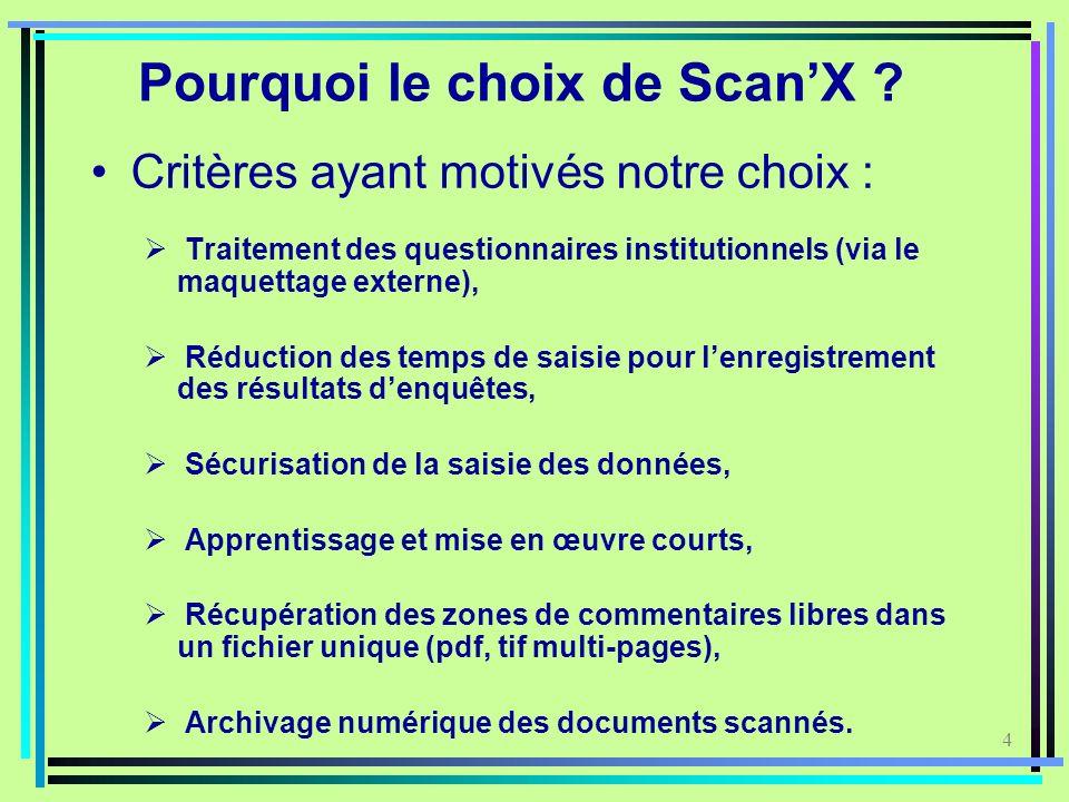 4 Pourquoi le choix de ScanX ? Critères ayant motivés notre choix : Traitement des questionnaires institutionnels (via le maquettage externe), Réducti