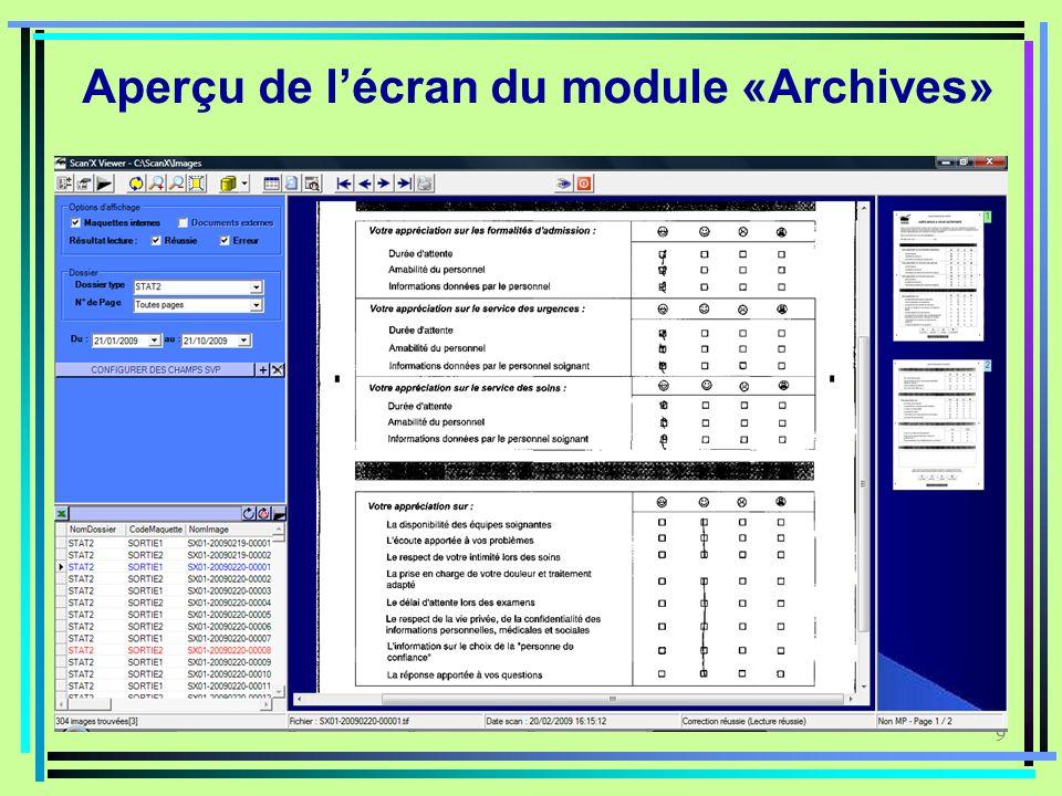 9 Aperçu de lécran du module «Archives»