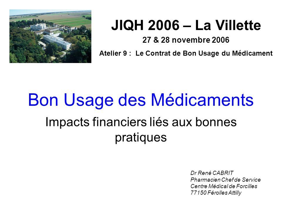 Bon Usage des Médicaments Impacts financiers liés aux bonnes pratiques JIQH 2006 – La Villette 27 & 28 novembre 2006 Atelier 9 : Le Contrat de Bon Usa