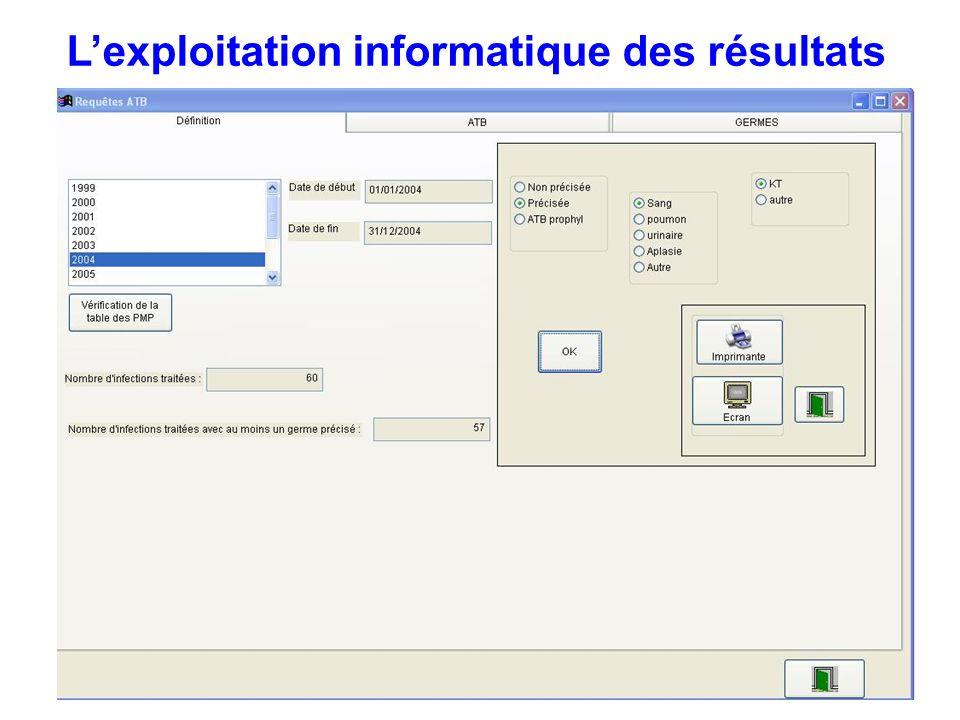 Lexploitation informatique des résultats