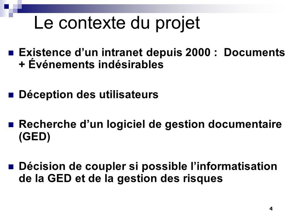 4 Le contexte du projet Existence dun intranet depuis 2000 : Documents + Événements indésirables Déception des utilisateurs Recherche dun logiciel de