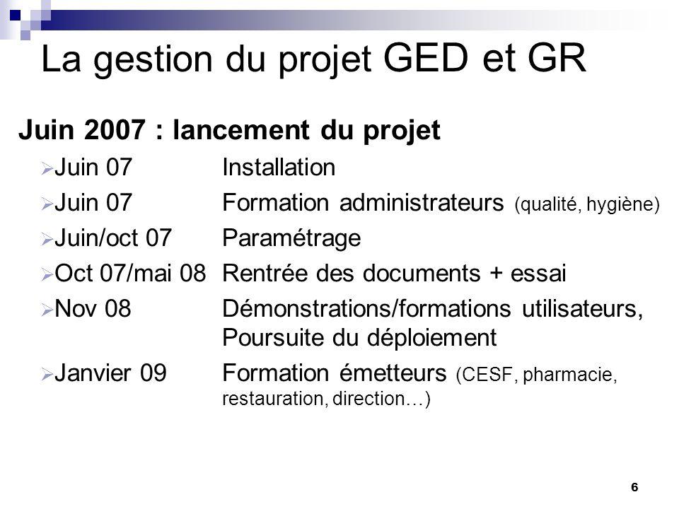 6 La gestion du projet GED et GR Juin 2007 : lancement du projet Juin 07 Installation Juin 07 Formation administrateurs (qualité, hygiène) Juin/oct 07
