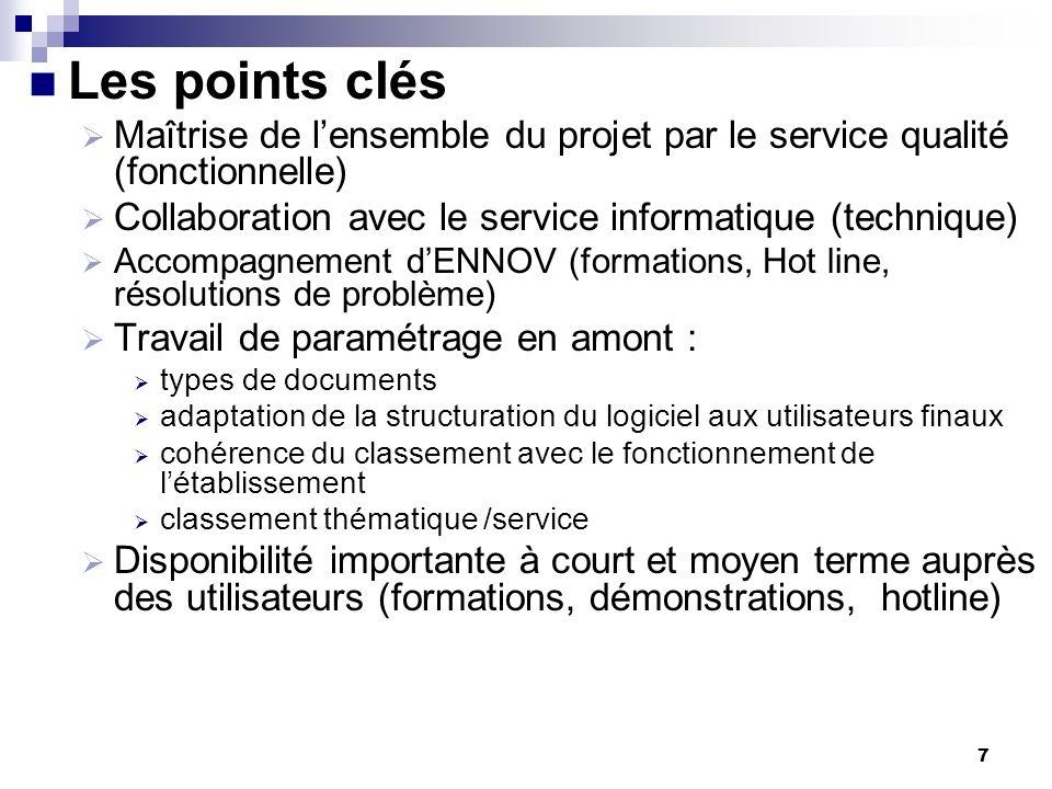 7 Les points clés Maîtrise de lensemble du projet par le service qualité (fonctionnelle) Collaboration avec le service informatique (technique) Accomp